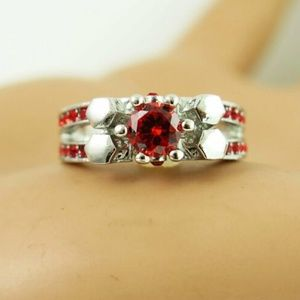 Hot Betsey Johnson red Crystal White Colour Ring